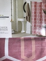Threshold Coral Geo Fabric Shower Curtain NWT - $13.49