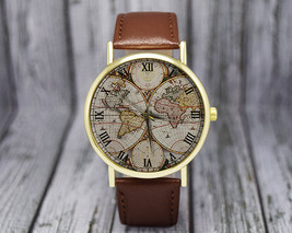 Vintage World Map Watch | Classic Style | Leather Watch | Ladies Watch |... - $20.00