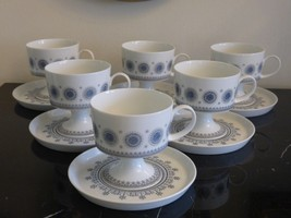 ROSENTHAL TAPIO WIRKKALA ICE BLOSSOM 1960S CUPS AND SAUCERS SET OF 6 - $149.00