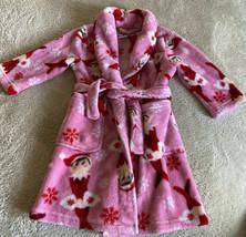 Elf On The Shelf Girls Pink Red White Long Sleeve Fleece Bath Sleep Robe 4T - $14.52
