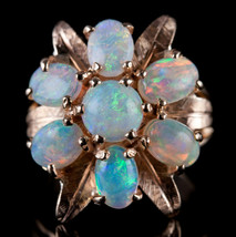 Vintage 1960's 14k Yellow Gold Australian White Opal Floral Cocktail Rin... - $690.00