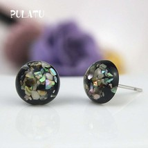 PULATU 2017 Fashion Small Black Earrings for Women Resin Natural shell G... - $20.00