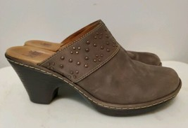 Sofft Dark Gray Embellished Leather Mules With Heels For Women Size 9 M - $23.38