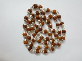 Rudraksha Beads Silver Necklace Chain Mala Handmade Jewelry use for Meditation - $35.63