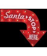 New 2-FT Lighted Metal SANTA STOP HERE Vintage Sign Christmas Holiday De... - $37.78
