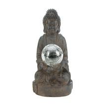 Mystical Solar Powered Glass Ball Buddha Outdoor Garden Statue - $28.89