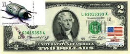 MONEY US $2 DOLLARS 1976 SAN FRANCISCO STAMP CANCEL EASTERN HERCULES BEETLE - $90.00