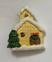 Christmas Church Brooch Pin Yellow Snow Resin Vintage Cute - $11.84