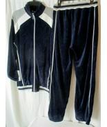 Michael Irvin 88 Playmaker Mens Med Blue White Full Zip Up Velour Tracksuit - $69.29