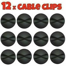 12x Black Cable Wire Cord Lead Drop Clips Usb Charger Holder Tidy Desk O... - $4.47