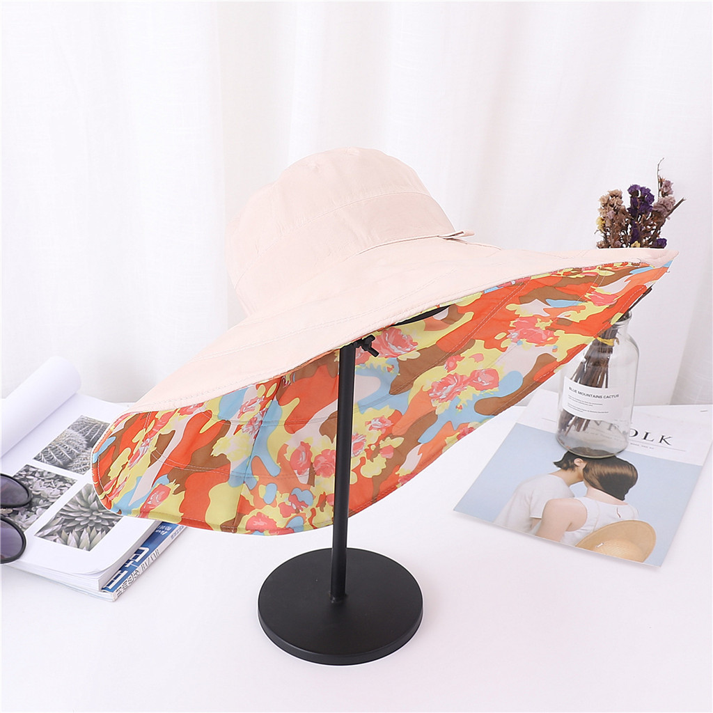 chapeau femme ete Women's Summer Hat Casual Solid Wide Brimmed Floppy Foldable B image 1