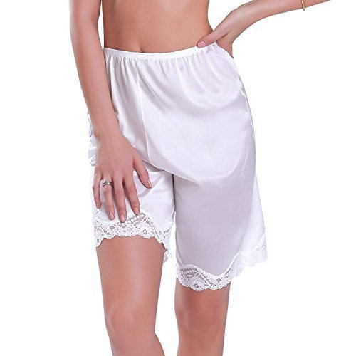 Ilusion Women's Classic Trouser Pants Half Slip with Lace Trim 1037 (Large, Whit