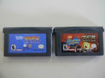 Lot Of 2 Nintendo Gameboy Advance Video Games Creature From The Krusty Krab