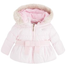 Mayoral Baby Girls Bow Front Puffer Jacket With Removable Hood