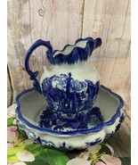 Antique Victoria Ware Ironstone Pitcher And Water Basin Blue & White - $163.63