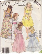 McCALL'S 1986 PATTERN 2328 SIZE 10 GIRLS' GOWN OR DRESS IN 5 VARIATIONS - $3.90
