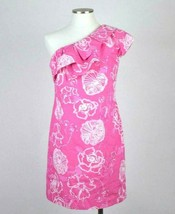 Lilly Pulitzer Pink Straight Shift Dress Knee Length One Shoulder Floral... - $48.50