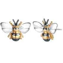 Fashion Bee Two Tone Stud Earrings for Women 925 Silver Jewelry A Pair/set - $10.99