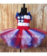 American Flag Tulle Tutu Dress, July 4th Tutu Patriotic Tutu Military Homecoming - $40.00 - $45.00