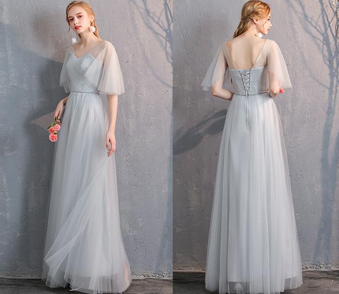 Bridesmaid tulle dress light gray 11