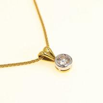 Single Diamond Necklace 18k Yellow Gold 0.33ct Diamond Gold Chain BHS - $1,171.71
