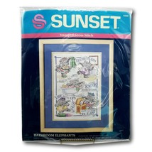 Sunset Bathroom Elephants Sampler 13056 Stamped Cross Stitch Kit Vtg Com... - $24.99