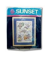 Sunset Bathroom Elephants Sampler 13056 Stamped Cross Stitch Kit Vtg Com... - $24.99