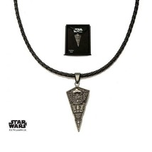 Disney Star Wars Star Leather, Stainless Steel Destroyer Pendant with Black Leat - $60.20