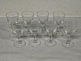 Vintage Set of Eight (8) Apertif Glasses - Stemmed and Etched - $29.95