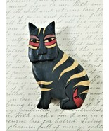"""Small Carved Wood Tabby Cat Figure Hand Painted Folk Art Green 4.5"""" High - $11.88"""