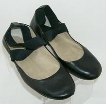Jessica Simpson Mandalaye black leather elastic cross strap slip on flats 6.5M - $31.43
