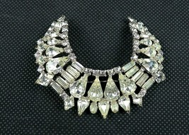 "KARU Beautiful Statement Clear Rhinestone Swoop U-Shaped Brooch 2 3/4"" - $45.00"