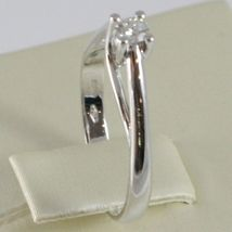 White Gold Ring 750 18K, Solitaire, Stems to Crown, Diamond, Carat 0.11 image 3