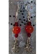 Handcrafted Gemstone Earrings Carnelian Beads Ladybugs Red Crystals .925... - $12.99