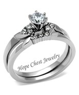 Stainless Steel Round Solitaire CZ Engagement Ring& Wedding Ring Set SIZ... - $12.59
