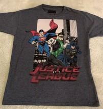 Justice League Boys Gray Superman Green Lantern Batman Short Sleeve Shirt 7-8 - $6.43