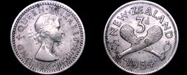 1954 New Zealand 3 Pence World Coin - $3.99
