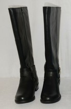 Soda HIROS Black Zip Up Riding Boot Gold Colored Accents Size 6 And Half image 2