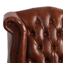 MarquessLife 100%Genunie Leather Handmade Tufted High Back Armchair Antique Sofa image 4