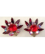 Gorgeous Red Navette & Round AB Rhinestone Clip Earrings Fan Flower Pron... - $19.74