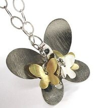 Necklace Silver 925, Chain Oval, Pendant Butterfly Big, Group Butterflies image 4