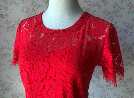 2021 Red Lace Crop Top Short Sleeve Plus Size Wedding Bridesmaid Red Crop Tops  image 3