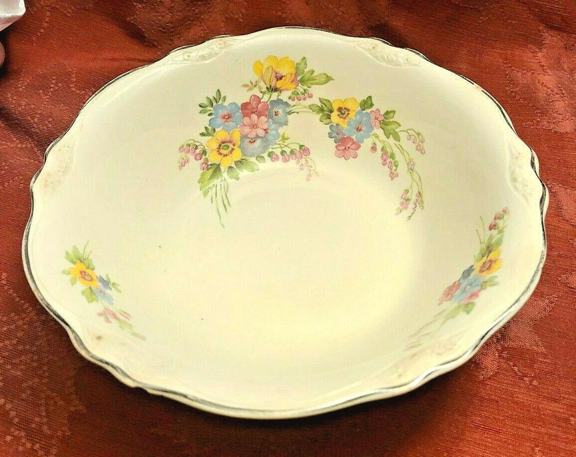 "Vintage RARE 1935 Homer Laughlin ""VIRGINIA ROSE"" 8 1/2"" Bowl Made in USA K 43 N8"