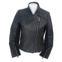 MICHAEL Michael Kors Women's Black Leather Quilted Moto Motorcycle Jacke... - $74.76