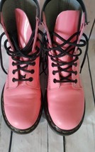 Dr. Doc Martens Pink Air Wair Patent Leather Combat Boots 1460 Sz 6 US 3... - $53.22
