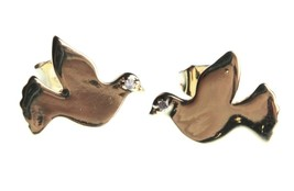 Kevia 18K Gold Plated Cubic Zirconia Brushed Metal Dove Post Stud Earrings NWT image 1
