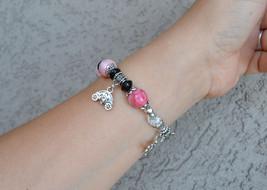 Bracelet, Gemstone bracelet, Statement bracelet, pink (B13) image 5