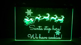 Santa Stops Here LED Neon Light Sign Home Business Tree Window Decoration - £17.10 GBP