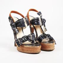 Prada Black Brown Snakeskin Open Toe High Heel Sandals SZ 37 - $140.00
