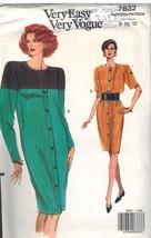 7832 Non Tagliati Vogue Cartamodello Misses Vestibilità Comoda Dritto Abito - $5.59